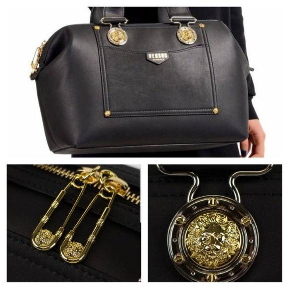 9263c2a7f1 Versace Versus Black Handbag Gold Safety Pin